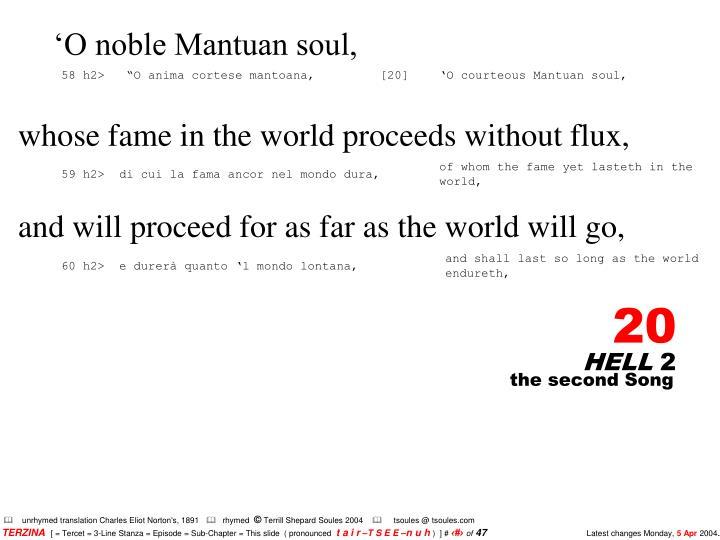 'O noble Mantuan soul,