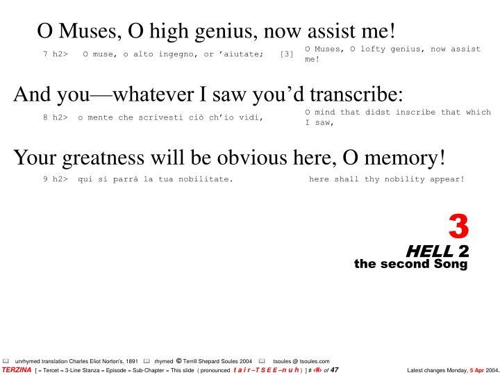 O Muses, O high genius, now assist me!