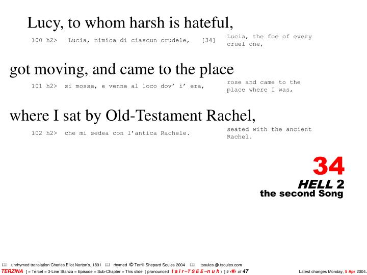 Lucy, to whom harsh is hateful,