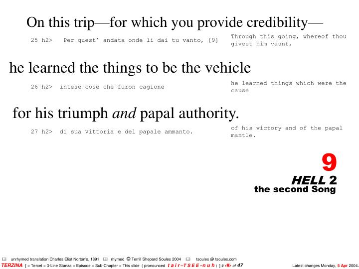 On this trip—for which you provide credibility—