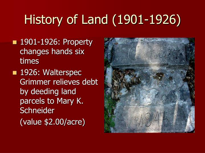 History of Land (1901-1926)