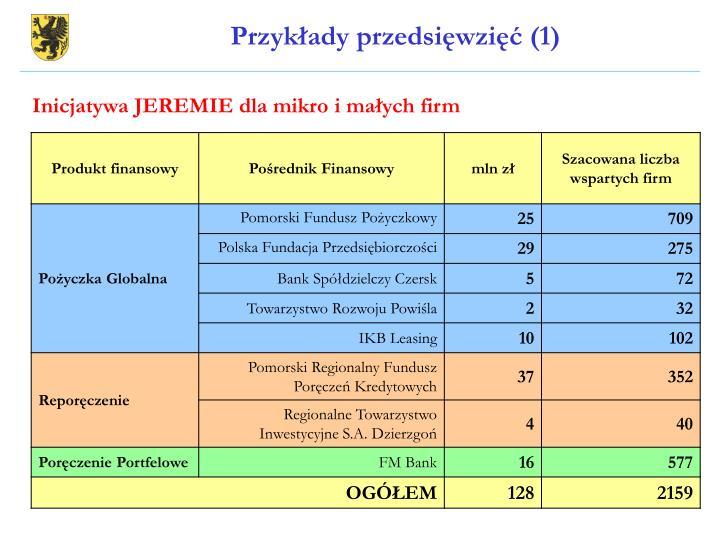 Przykłady przedsięwzięć (1)