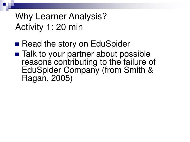 Why Learner Analysis?