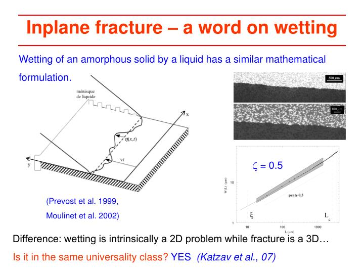 Inplane fracture – a word on wetting