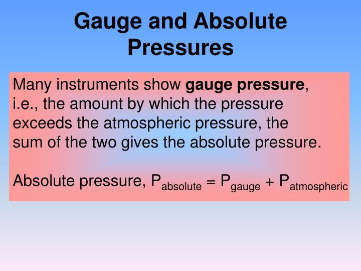 Gauge and absolute pressures
