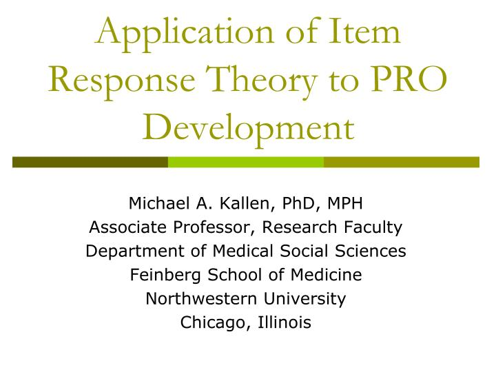 application of item response theory to pro development n.
