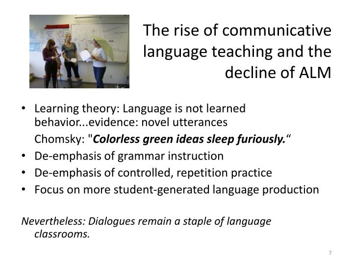 The rise of communicative 		   language teaching and the