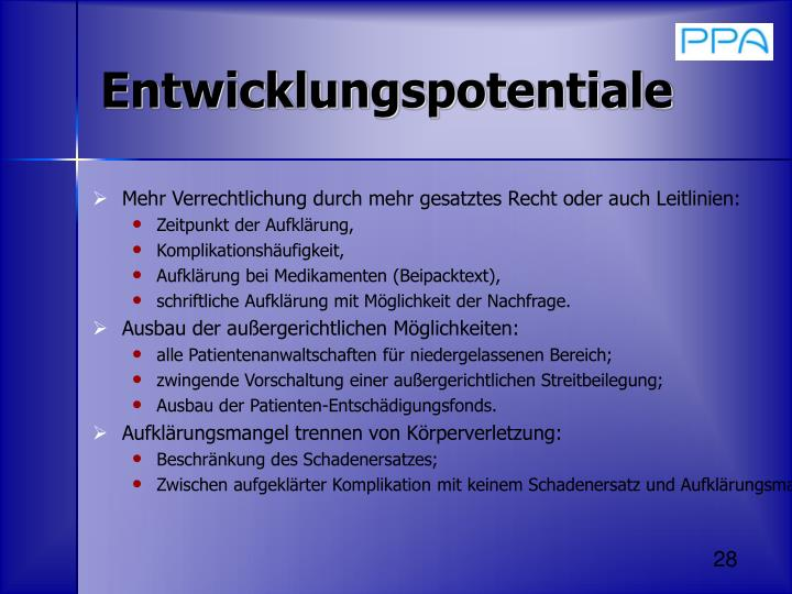 Entwicklungspotentiale