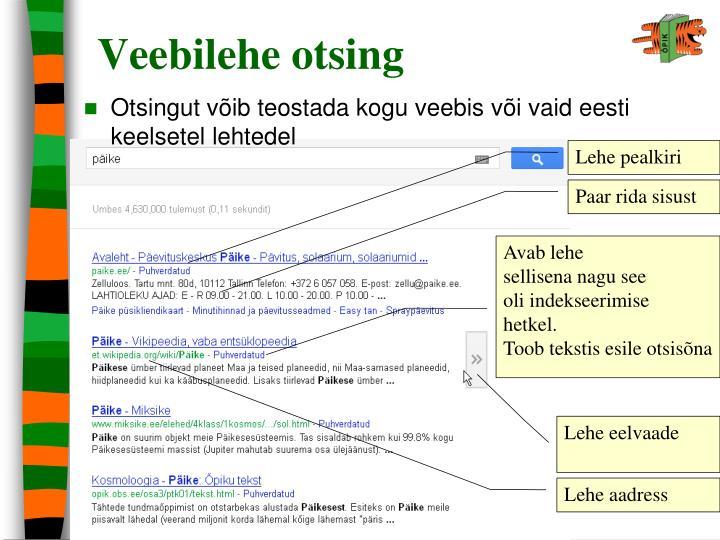 Veebilehe otsing