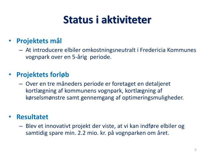 Status i aktiviteter