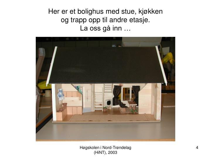 Her er et bolighus med stue, kjøkken