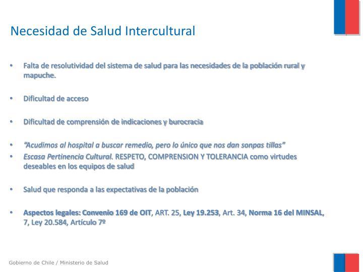 Necesidad de Salud Intercultural