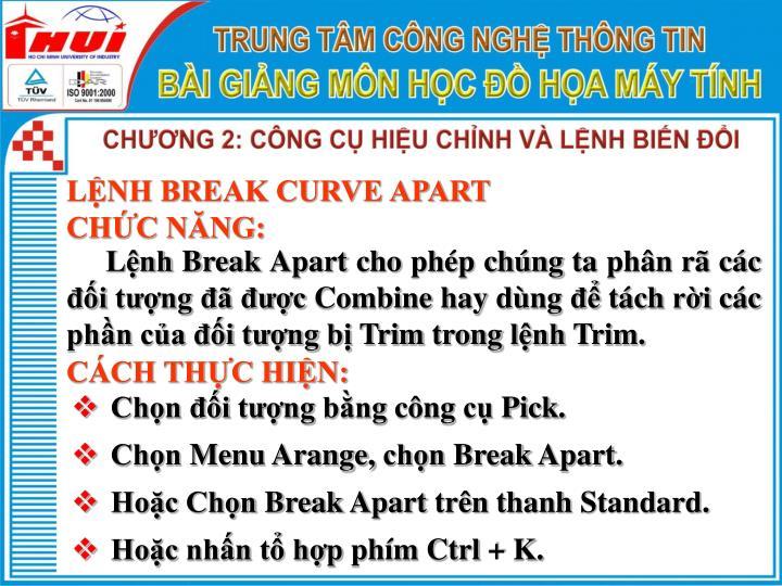 LỆNH BREAK CURVE APART