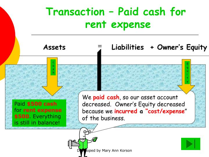 Transaction – Paid cash for