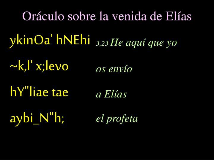 Oráculo sobre la venida de Elías
