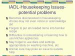 iadl housekeeping issues potential problems