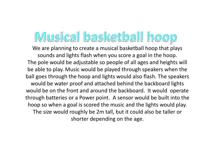 Musical basketball hoop