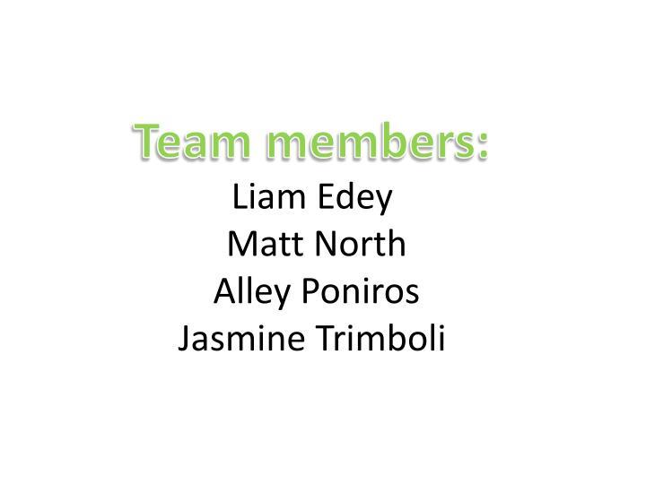 Team members liam edey matt north alley poniros jasmine trimboli