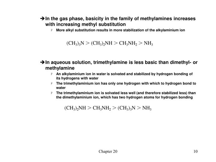 In the gas phase, basicity in the family of methylamines increases with increasing methyl substitution