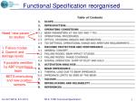 functional specification reorganised