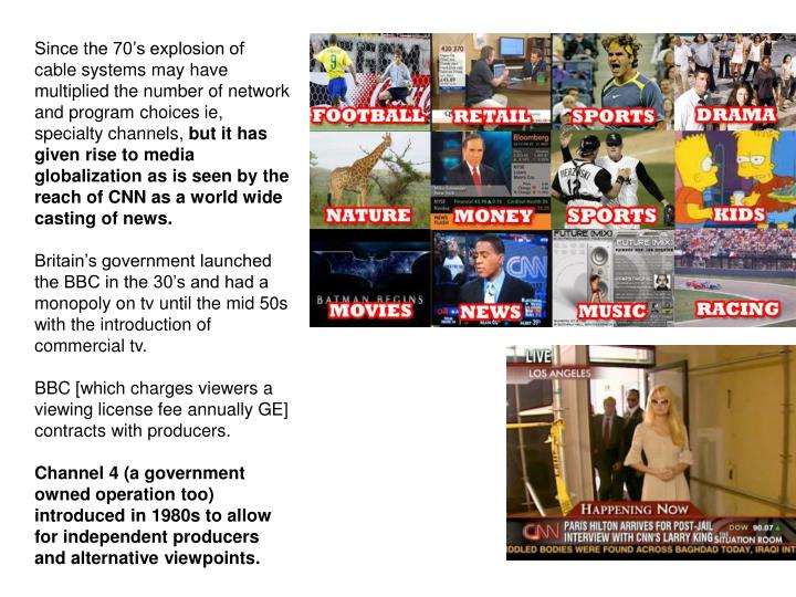 Since the 70's explosion of cable systems may have multiplied the number of network and program choices ie, specialty channels,