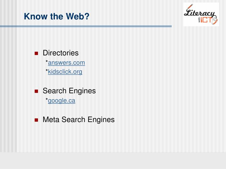 Know the Web?