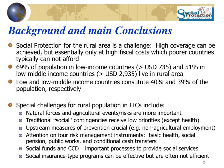 Background and main conclusions