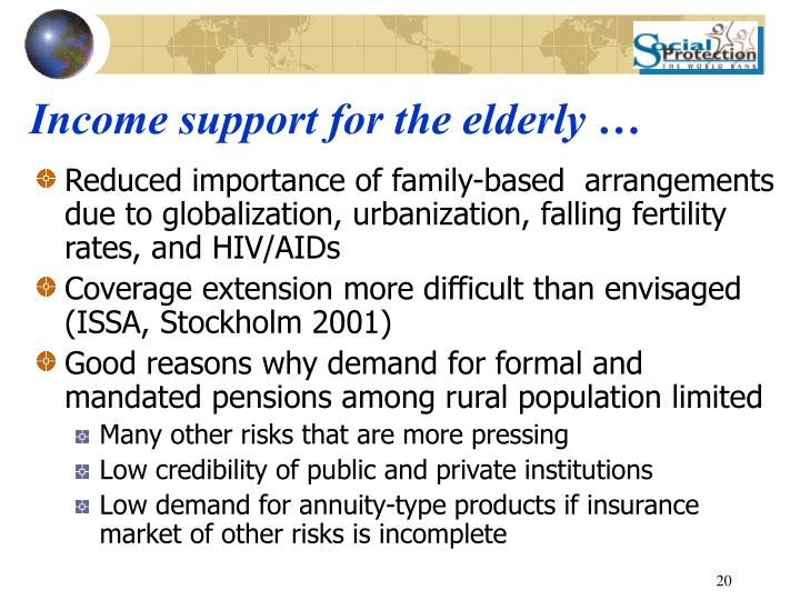 Income support for the elderly …