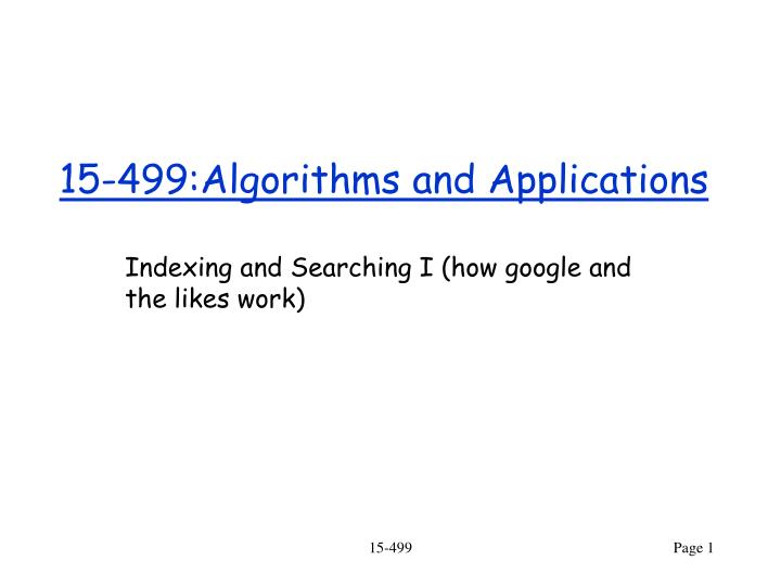 15 499 algorithms and applications