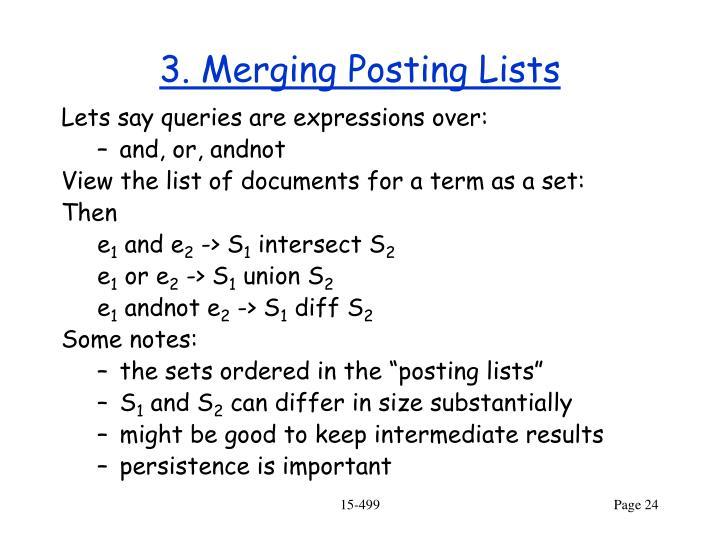 3. Merging Posting Lists