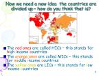 now we need a new idea the countries are divided up how do you think that is1
