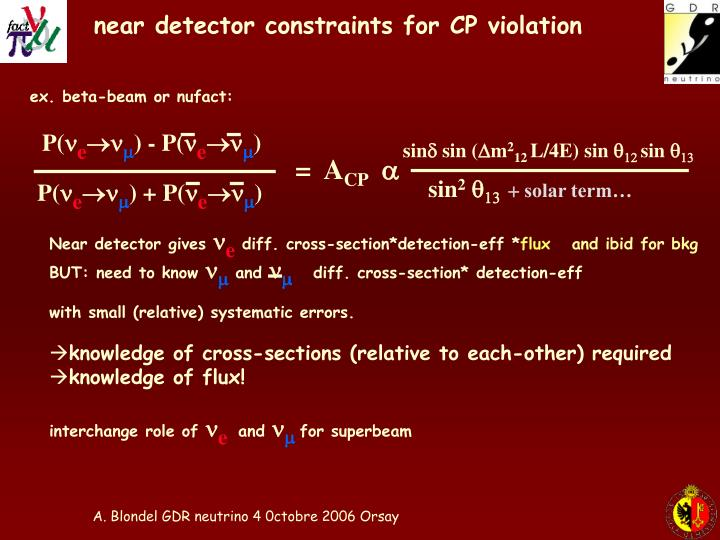 near detector constraints for CP violation