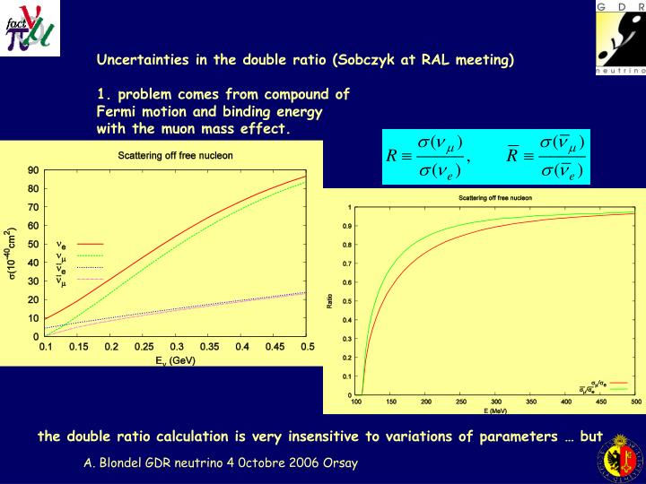 Uncertainties in the double ratio (Sobczyk at RAL meeting)