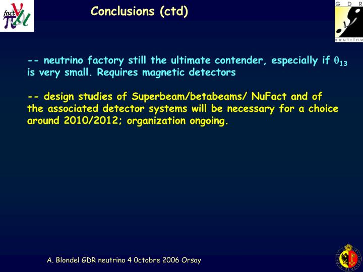 Conclusions (ctd)