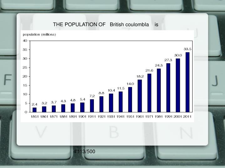 THE POPULATION OF   British coulombIa    is