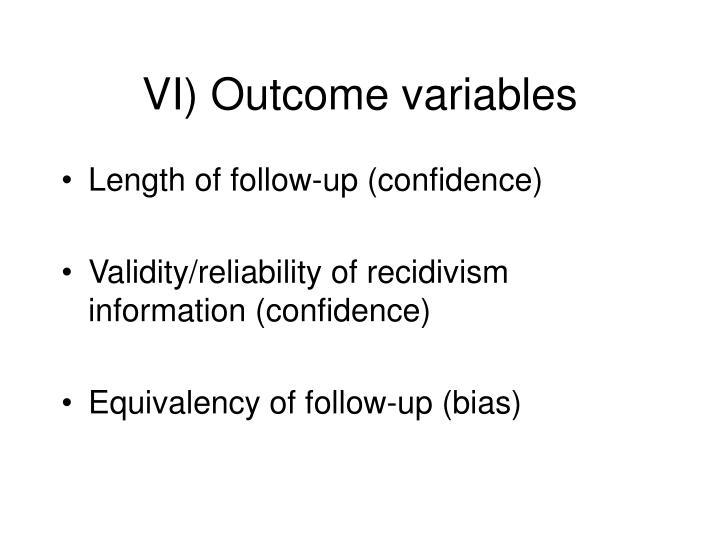 VI) Outcome variables