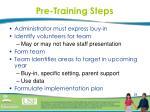 pre training steps