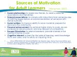 sources of motivation for adult learners hieneman 2007