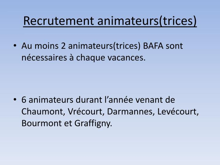 Recrutement animateurs(trices)