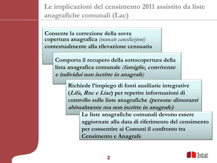 Le implicazioni del censimento 2011 assistito da liste anagrafiche comunali lac