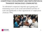competence development and participation in transient knowledge communities3