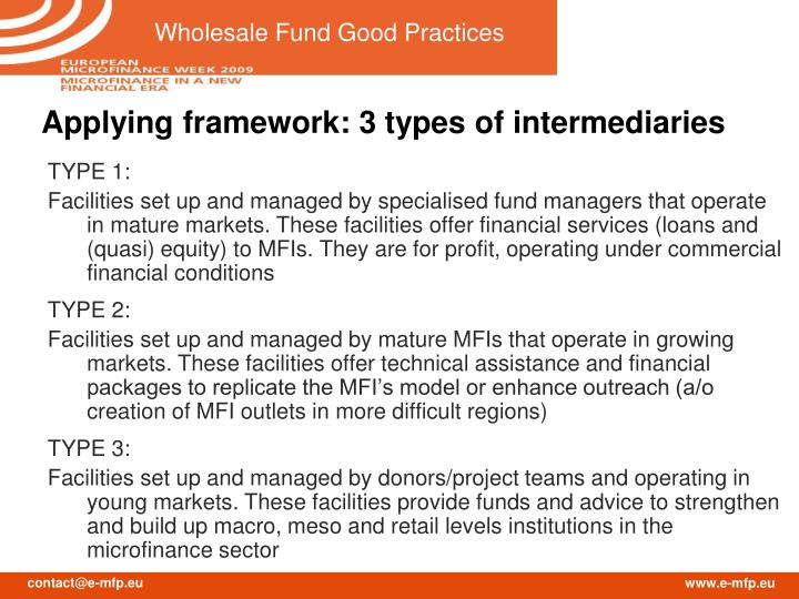 Applying framework: 3 types of intermediaries