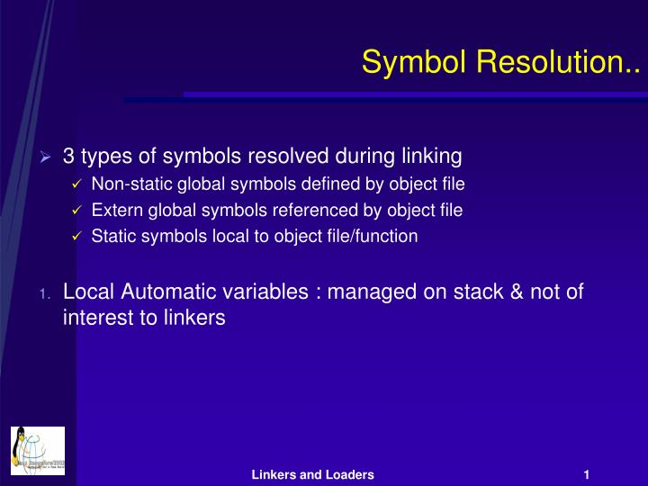 Symbol Resolution..