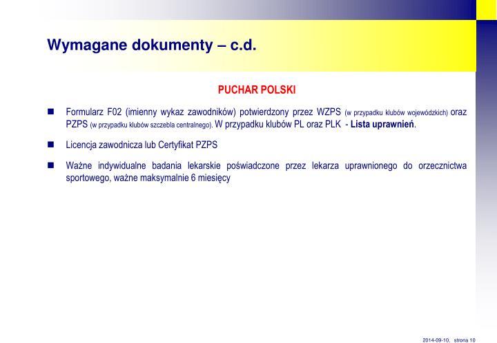 Wymagane dokumenty – c.d.