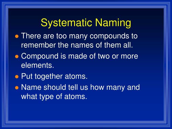 Systematic naming