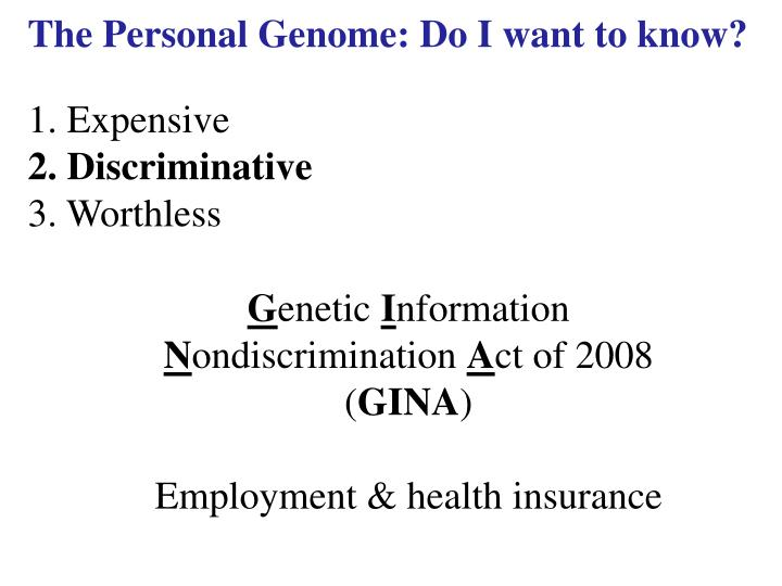 The personal genome do i want to know