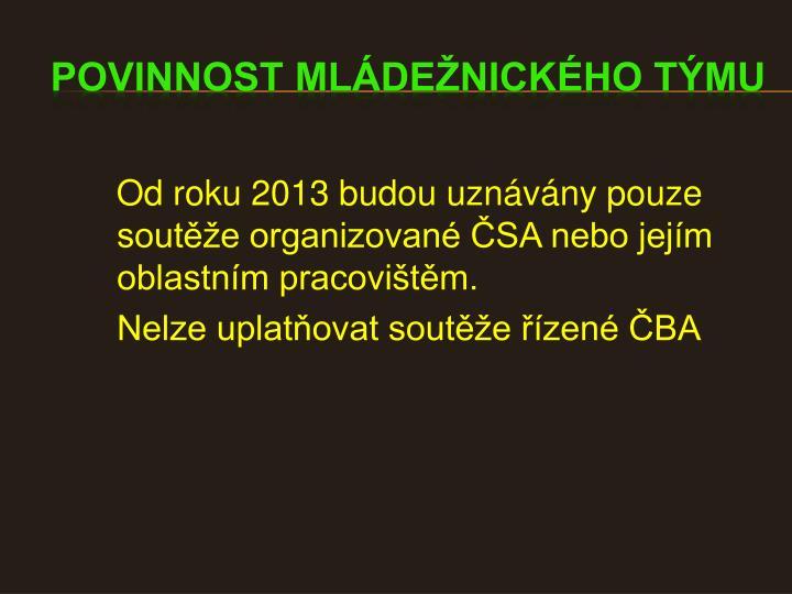 Od roku 2013 budou uznávány pouze soutěže organizované ČSA nebo jejím oblastním pracovištěm.
