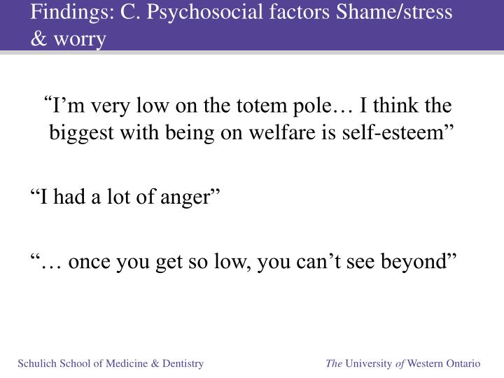 Findings: C. Psychosocial factors Shame/stress & worry
