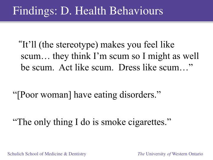Findings: D. Health Behaviours