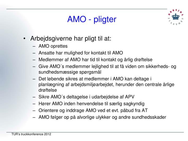 AMO - pligter